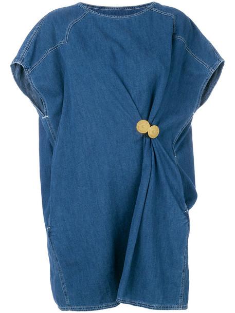 Mm6 Maison Margiela dress shirt dress t-shirt dress oversized women leather cotton blue