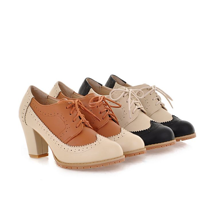 Womens Ladies Lace Up Block Mid Heels Brogues Oxfords Shoes Multicolor D317 | eBay