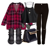 shoes,black,boots,bikie,grunge,punk,90s style,gold,goth,military style,plaid,ripped,crop,bag,coat,blouse,top