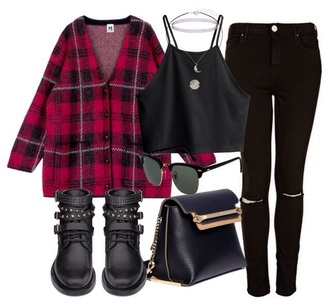 shoes black boots bikie grunge punk 90s style gold goth military style plaid ripped crop bag coat blouse top