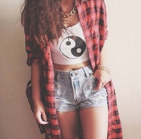jacket shorts shirt plaid shirt crop tops ying yang