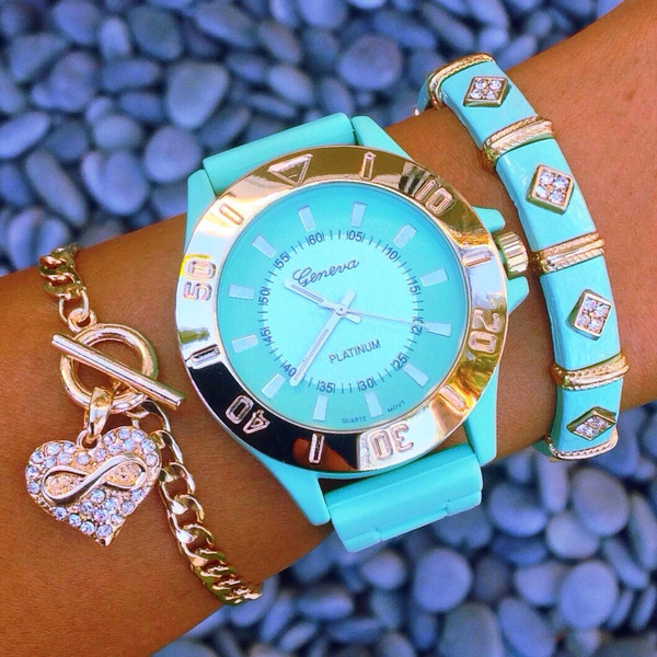 jewels watch blue cute