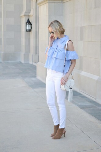 straight a style blogger top jeans bag shoes sunglasses jewels off the shoulder white jeans shoulder bag white bag open toes booties brown boots