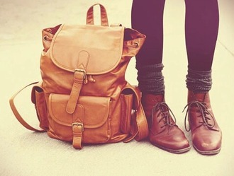 bag school bag lether bag brown orange camel bag backpack vintage indie grunge autumn/winter school girl school outfit