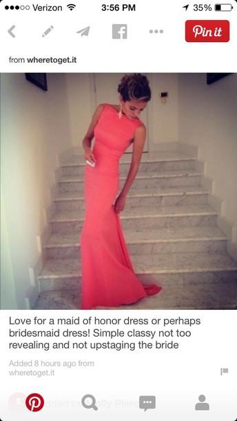 bridesmaid dress coral dress prom dress coral bridsmaid coral pink long dress red