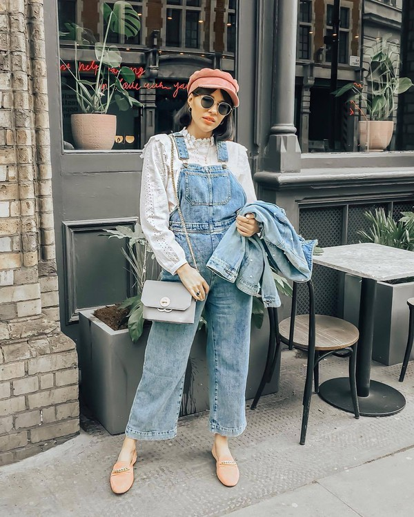 jumpsuit hat shirt top denim jacket bag shoes sunglasses denim overalls overalls denim jacket