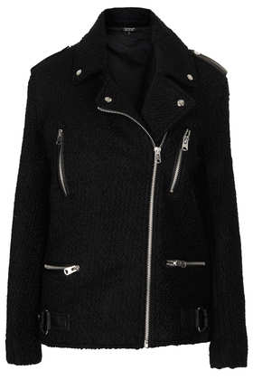 Black Wool Biker Jacket - Bikers & Bombers - Jackets & Coats  - Clothing - Topshop
