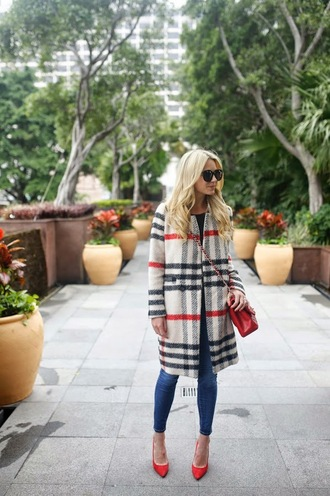 atlantic pacific blogger sunglasses tartan coat red heels