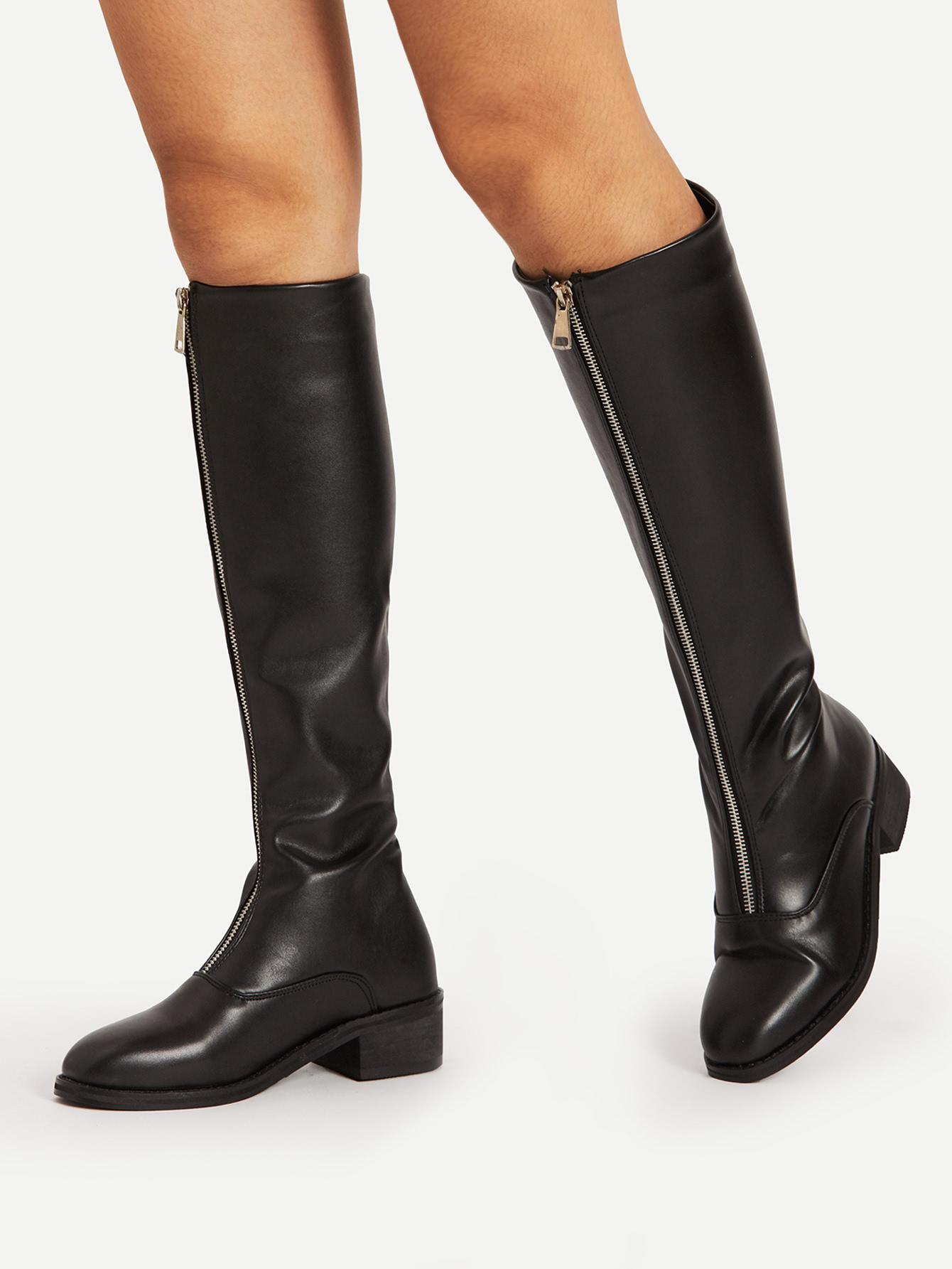 cebefe31f5 Zipper Front Knee High PU Boots -SheIn(Sheinside)
