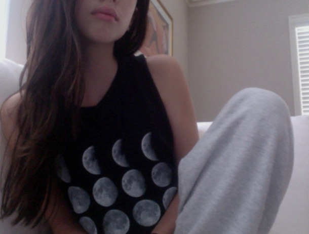 shirt moon black tank top cute