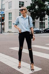 jeans,top,shirt,blue shirt,pants,ripped pants,black pants,shoes