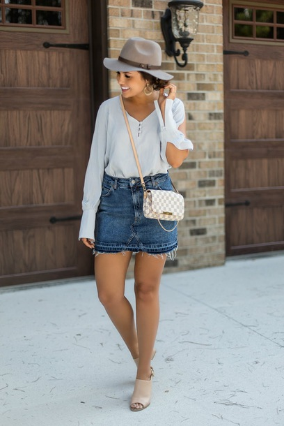 90da55b5e87c life   messy hair blogger skirt top jewels shoes hat mules crossbody bag louis  vuitton bag