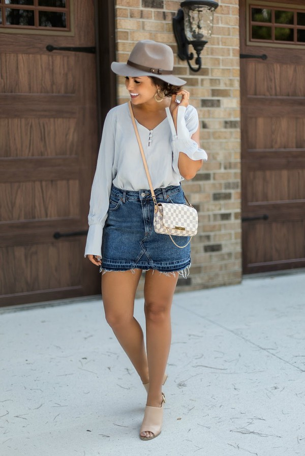 life & messy hair blogger skirt top jewels shoes hat mules crossbody bag louis vuitton bag grey hat summer outfits
