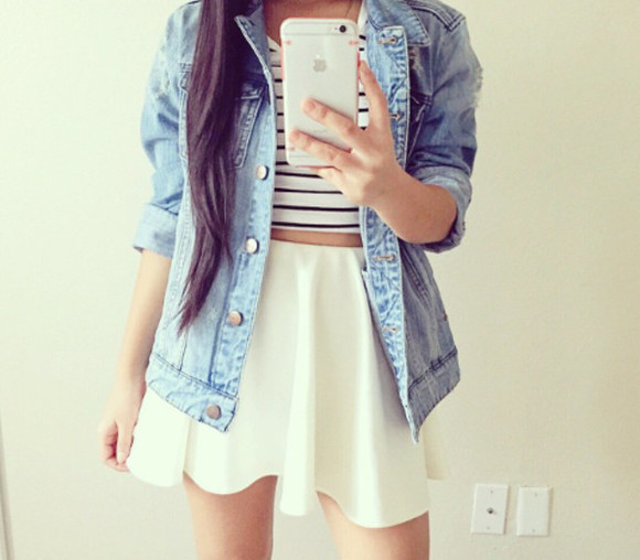 girly white skirt top black and white t-shirt stripped shirt jacket denim crop top tumblr outfit iphone case