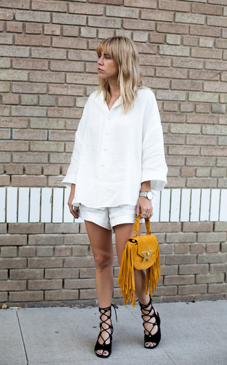 always judging blogger top shorts shoes bag