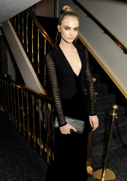 cara delevingne clothes dress deep vneck little black dress longsleeved dress long dress evening dress burberry maxi dress prom dress stripes