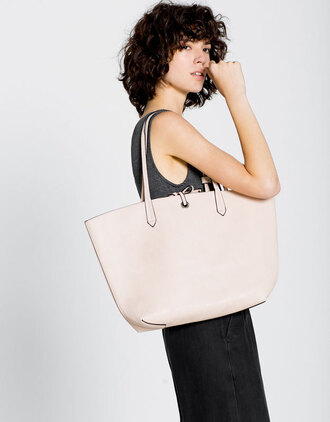 bag leather tote bag blush pink