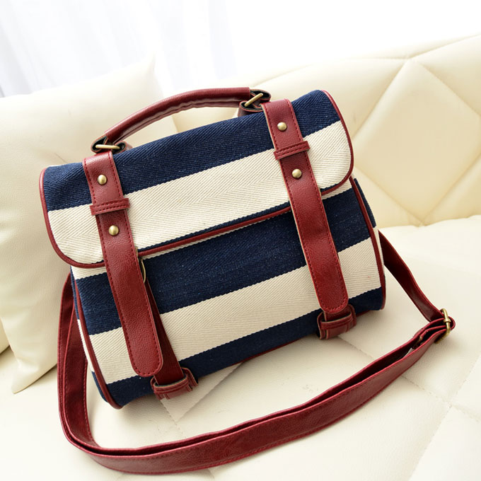 Fashion Blue Striped Canvas Handbag & Shoulder Bag on Luulla