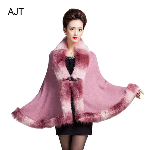 cardigan luxury faux fur neck shawl single layer shawl fashion winter cape knitted cape knitted cardigan