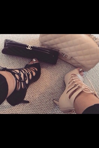 shoes nude nude heels lace beige beige heels strappy heels lace up
