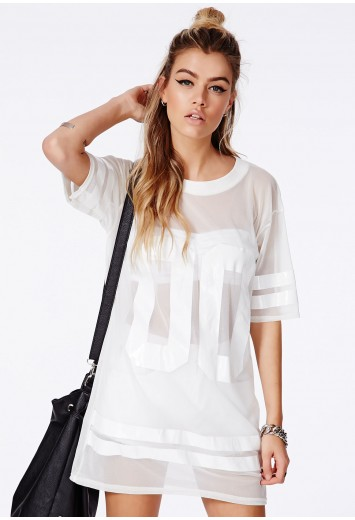 Missguided - Hugette White American Football Mesh T-Shirt