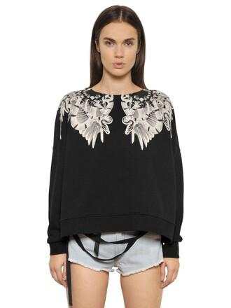 sweatshirt cotton white black sweater