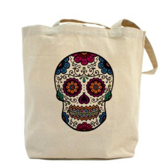 bag tote bag skull skull bag shopper bag dia de los muertos halloween