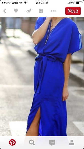 dress royal blue dress wrap dress slit dress