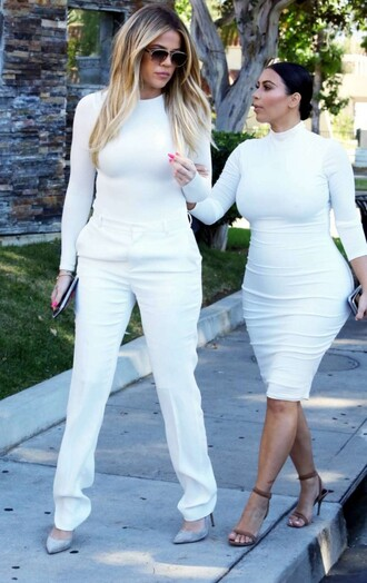dress pants top all white everything kardashians kim kardashian khloe kardashian bodycon dress celebrities in white all white outfit