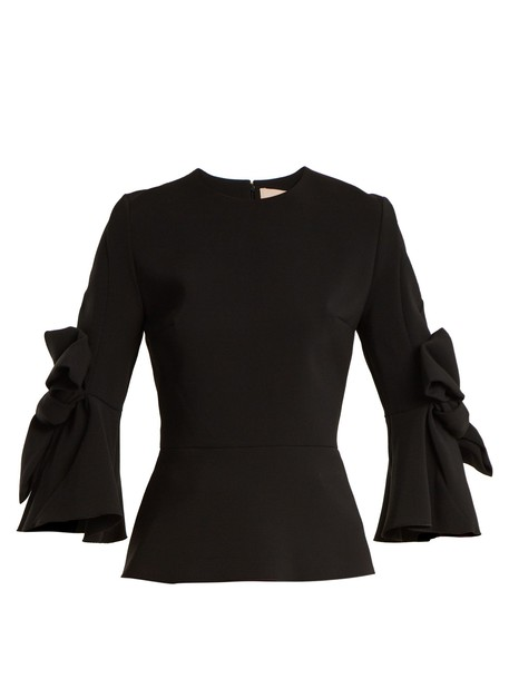 blouse bow embellished black top