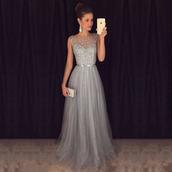 dress,prom dress,a line prom gowns,long prom dress,grey prom dress,elegant prom dresses,tulle dress,floor length dress,sleeveless dress,elegant dress,prom,grey dress,long party dress,crystal,evening dress,luxury,sparkle