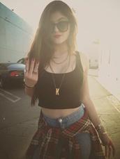 blouse,red,jeans,jewels,sunglasses,kylie jenner,kardashians,shirt,grunge,soft grunge,sexy,tank top