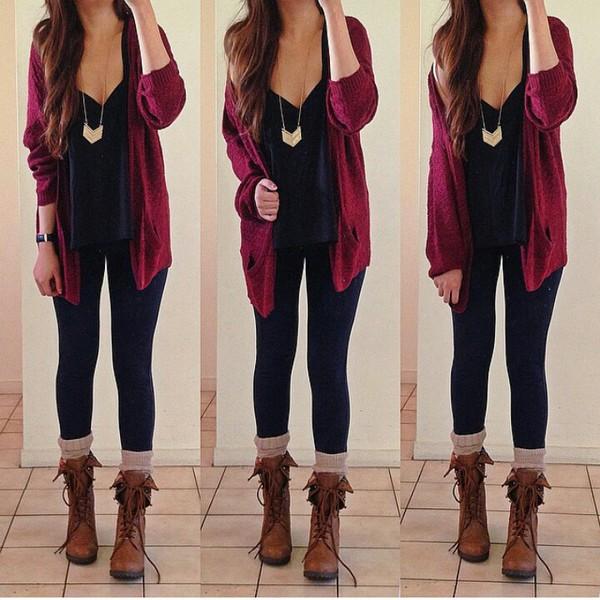 cardigan belt jeans jewels top boots socks blouse pants burgundy shoes leggings colier kimono fashion sext top
