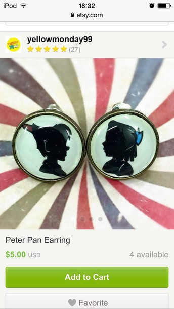 jewels peter pan wendy shadow circle vintage cute round piercing earrings earrings