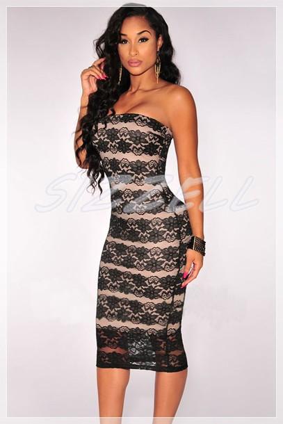 9b94efa05ca dress black black dress midi dress midi strapless strapless dress black  lace dress black lace nude