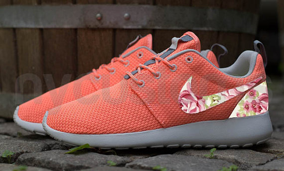 Nike roshe run coral pink rose garden patch floral by nycustoms