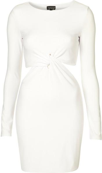 Topshop twist cutout bodycon dress in white