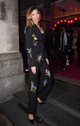 pants blazer suit london fashion week 2016 fashion week 2016 karlie kloss jacket