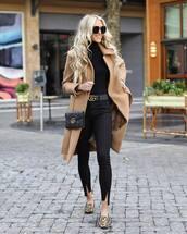 coat,camel coat,sunglasses,black jeans,gucci bag,black belt,black bodysuit,flats