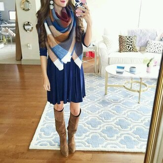 scarf dress winter outfits blue dark blue white