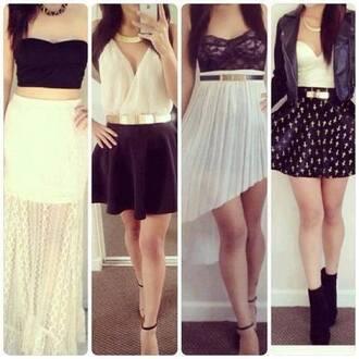 dress black white white dress skirt black skirt black dress little dress gold top white skirt white top black top