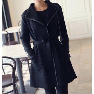 coat rose wholesale black black coat all black everything casual winter coat autumn/winter