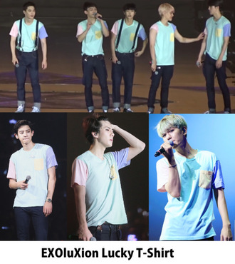 t-shirt green pink pastel blue yellow exo boy girl shirt kpop mens t-shirt