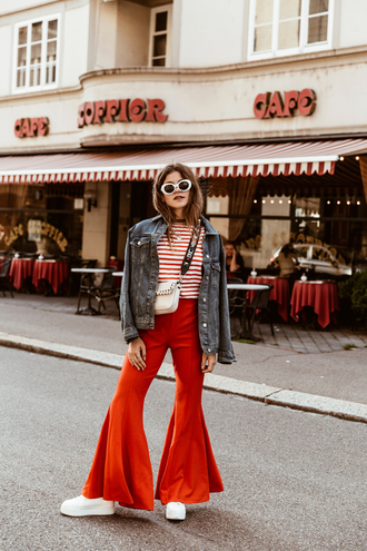 pants tumblr red pants flare pants shoes white shoes jacket denim jacket top stripes striped top white sunglasses sunglasses bag glasses sunnies retro sunglasses accessories accessory