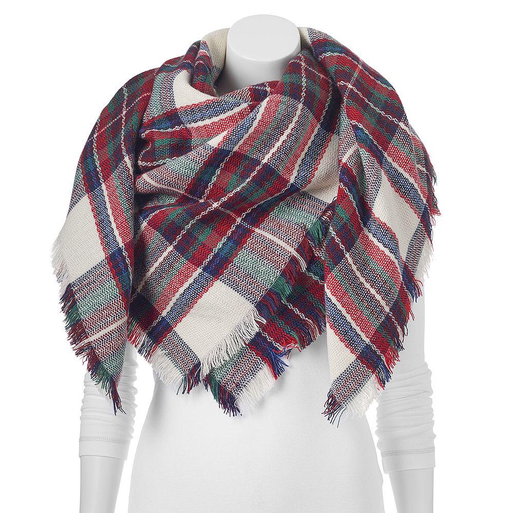 apt 9 fringe plaid oblong blanket scarf