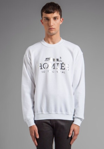 silver white sweater homies sweatshirt crewneck