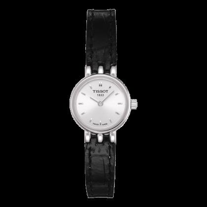 Montre Femme Tissot Lovely Quartz  Boitier Acier Cadran Argent Bracelet Cuir Noir
