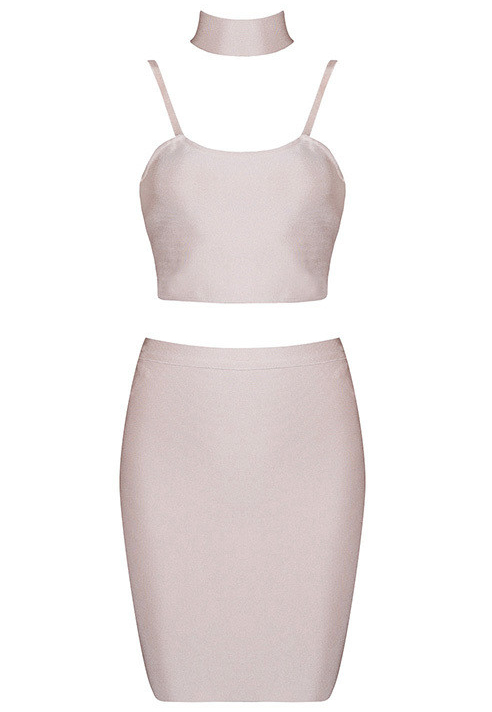 Choker Detail Two Piece Bandage Dress Nude