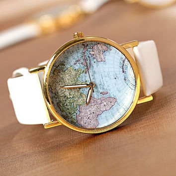 Leather World Map Watch on Wanelo