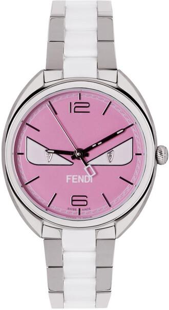 watch silver pink jewels